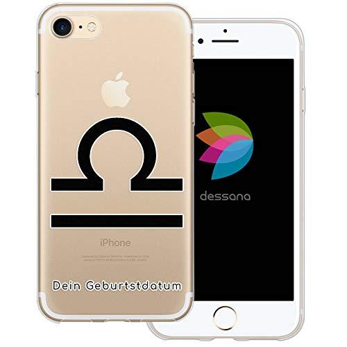 dessana sterrenbeeld met datum transparante silicone TPU beschermhoes 0,7 mm dunne mobiele telefoon soft case cover tas voor Apple, Apple iPhone 7, Weegschaal verjaardag