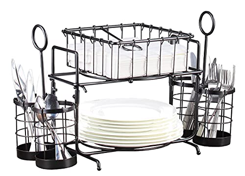 Giftburg Loop & Wire Buffet Caddy Tabletop Organizer, Flatware Napkin and Plate Picnic Caddy Stackable Serving Set, Black