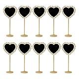 WANLIAN 10 mini letreros de madera con soportes, hueco en forma de corazón, adecuados para bodas, fiestas de cumpleaños, carteles de mensajes y decoraciones de eventos (en forma de corazón)