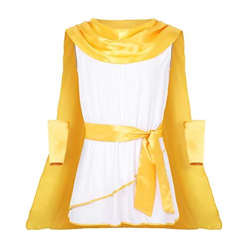 Alvivi 3Pcs Disfraces Toga Tnica de Dios Mtico Hombres Mujeres Costume con Capa Larga Hombres Traje Cosplay Halloween Carnaval con Accesorios Blanco X-Large