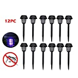 10. Naiflowers 12PC Solar Powered LED Light Outdoor Pest Bug Zapper Insect Mosquito Killer Lamp Waterproof Wirless Insect Bugs Fly Light for Pathway Walkway Garden Porch Patio Backyard Lawn
