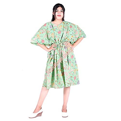Traje de baño de algodón Bazar Maxi Drees Cover-Up Kaftan, traje de baño corto para la playa, caftán, estampado a mano, vestido de noche, túnica para nadar