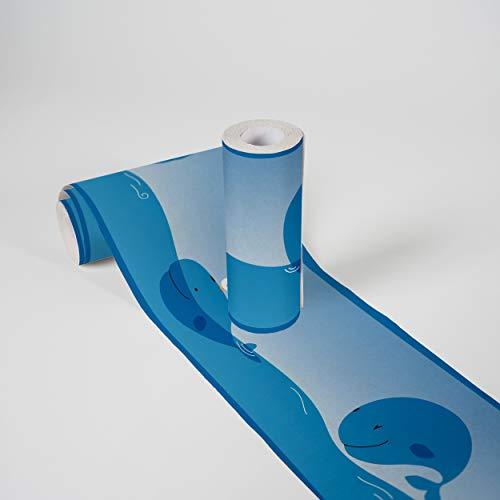 Kinderzimmer Bordüre selbstklebend Ocean Friends Wandbordüre mit niedlichen Walen für Babyzimmer und Kinderzimmer Wandtattoo für Mädchen und Jungen in blau, hellblau