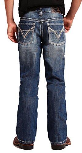 Rock & Roll Denim - Boy's Regular Fit BB Gun Bootcut Western Jeans - Medium Vintage Wash, Size 10 Blue