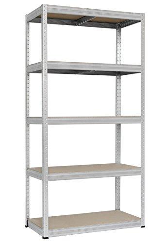 Hans Schourup 13501045 rek voor zware lasten met 5 planken van MDF, draagvermogen tot 350 kg per plank, 180 cm x 90 cm x 60 cm, verzinkt