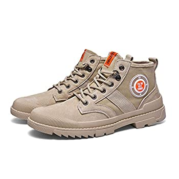 MINIDUO Men s High Top Sneakers Leather Breathable Fashion Casual Shoes for Men/Boys  7 M US,Khaki