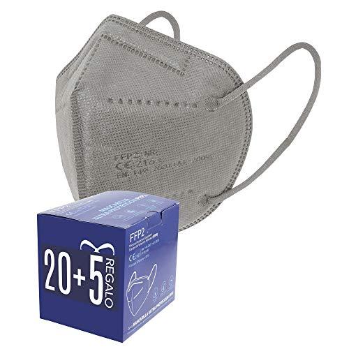 Mascarillas FFP2. 20 + 5 de Regalo. Mascarillas ultra protección. 5 capas. Homologada. Certificado CE 2163. Caja 20 + 5 Unidades de REGALO. PACK PAULA ALONSO (25 GRISES)