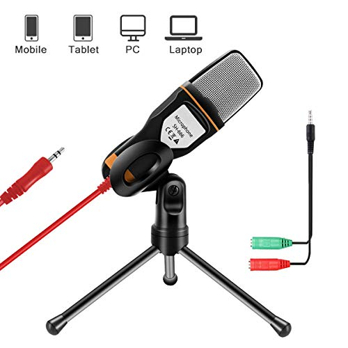 AOBETAK Microfono per PC e Smartphone con Supporto, Professionale 3.5mm Jack Microfono a Condensatore con 3.5 mm Stereo Jack Splitter, per Loptop iPad Mac Gaming Singing Youtube Skype, Studio, Nero