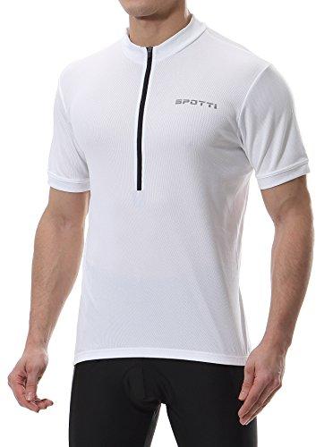 Spotti Men's Basic Short Sleeve Cycling Jersey - Bike Biking Shirt (White, Large)