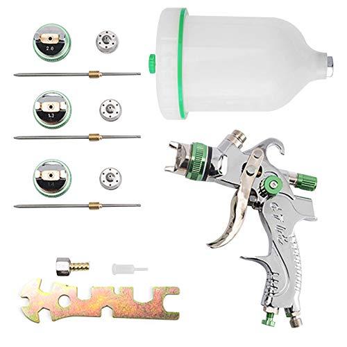 HVLP Lackierpistole Spritzpistole 1,4mm 1,7mm 2,0mm Düse, Profi Farbsprühsystem Spraypistole mit 600cc Plastikbecher (Green)