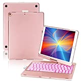 ONHI 360 Rotatable 7 Colors Back-lit Wireless Keyboard Case for iPad 8th Gen (10.2', 2020),iPad 7th Gen, Air 3, Pro 10.5,F102AS (Rose Gold)
