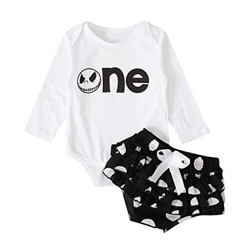 Janly Liquidacin Venta 0-24 meses Beb Top Pantalones Set Recin Nacido Beb Nia Mameluco Tops Bow Dot Shorts Traje Conjunto de Disfraz de Halloween para 12-18 Meses (Blanco)