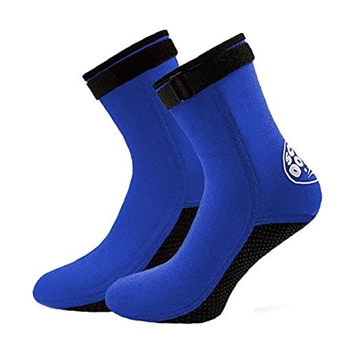 EElabper Calcetines de Neopreno Buceo Surf de baño Botas 3 mm Calcetines Antideslizantes para los Hombres Aletas de Buceo Buceo Mujeres Agua Azul Deportivo M 1 par
