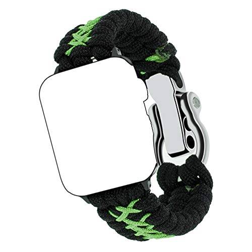 Qianyou Kompatibel mit Apple 1/2/3/4 Paracord Armband 42MM/44MM, Survival Nylon Loop Einstellbar Weben Ersatzarmband mit Metall Verschluss Notfallarmband Strap mit Schraubendreher, Schwarz Grün