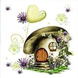 QGHMV DIY Kits de Punto de Cruz Estampado para Principiantes 11ct Casa de Setas de Dibujos Animados Bordado de Punto de Aguja Printed Kit de Punto de Cruz para decoración del hogar 16x20 Inch