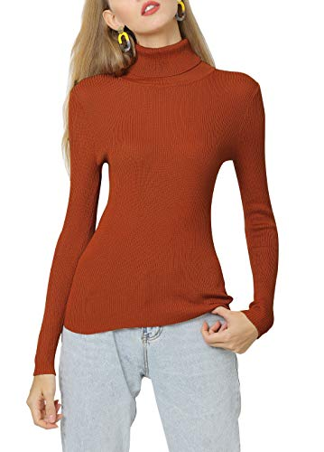 LA ORCHID Laorchid Langarm Strickpullover Damen Basic Oberteile, Rollkragenpullover Damen Winter warm Tops,high Neck Pulli Elagant Frauen Rost Orange XL