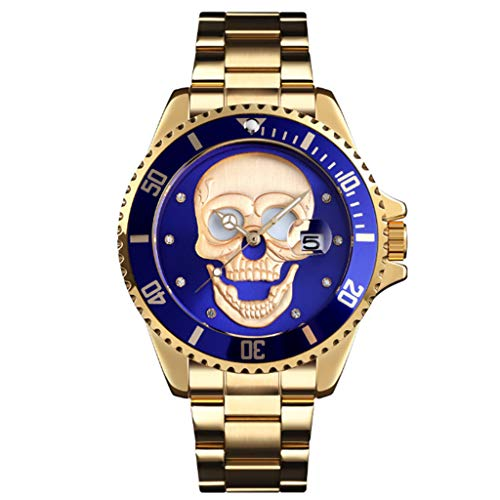 Gnaixyc Reloj De Pulsera para Hombre, Diseño De Calavera Blanca 3D, Relojes De Diseñador De Acero Inoxidable con Calendario De Fecha,Azul