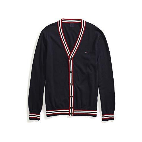 Tommy Hilfiger Men's Adaptive Cardigan Sweater with Magnetic Buttons, Navy Blazer-PT/Multi, LG