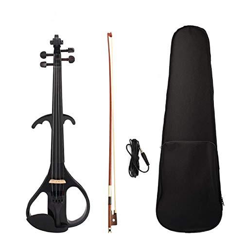 Violín de tamaño completo 4/4 de madera maciza Silencioso violín eléctrico Cuerpo de arce de ébano diapasón clavijas de mentón resto cordal hecho a mano violín