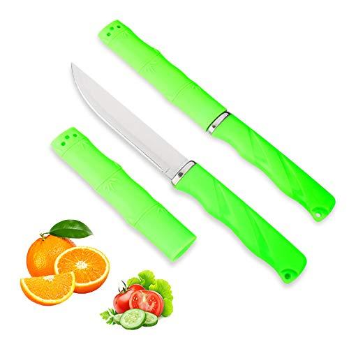 Juego de cuchillos para frutas, 2 piezas, con vaina, mango antideslizante, exquisito...