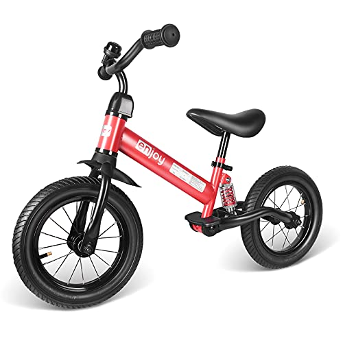 besrey Bicicleta sin Pedales Bicicleta niño 3-5 Años Rueda de Goma Inflable Bicicleta Sin Pedales con Amortiguador Central - Rojo…