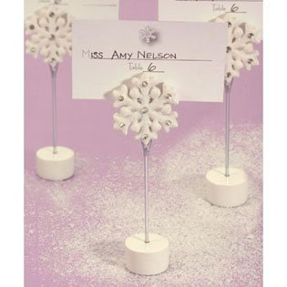 Winter Theme Place Card Holder Wedding Favors - Snowflakes, 70