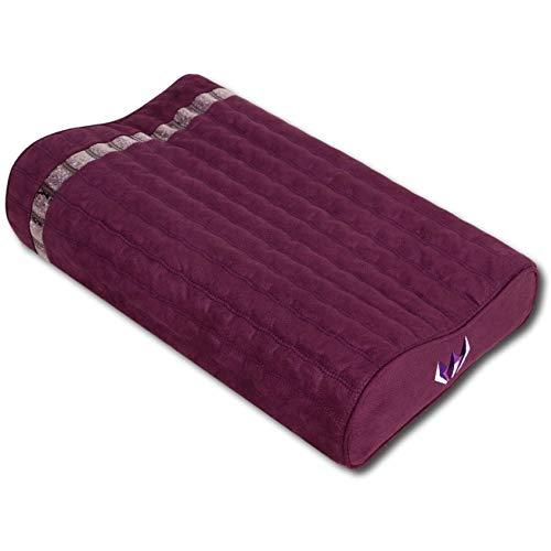 """Ereada Far Infrared Amethyst Mat Pillow - High End Negative Ion and FIR Pillow - Jewelry Grade Natural Amethyst Gems - Memory Foam - Luxury Suede (Gentle Pillow 19"""" L x 12"""" W x 3.5""""H, Purple)"""