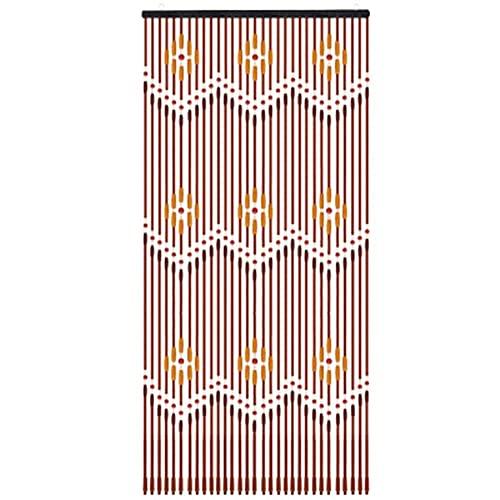 HTYG 31 Rideau de Porte en Perles de Bois, Fait à la Main, Stores De Rideau De Porte pour Porche Chambre Salon Diviseur 90X220cm, Facile à Installer