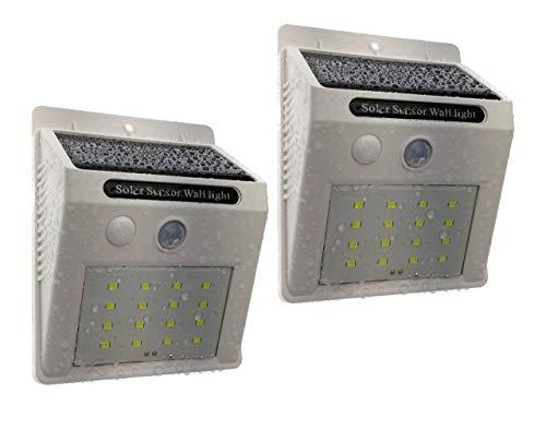 Trango 2 stuks 16 LED zonnelamp wandlamp veiligheidslamp incl. bewegingsmelder en helderheidssensor zorgen voor auto aan/uit TGSOL-YF16W