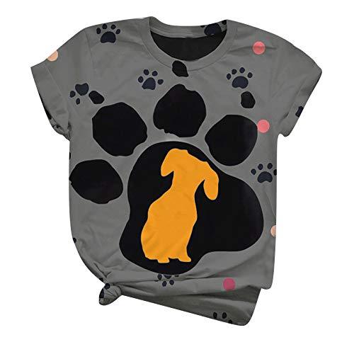 WAo Kurzarm Shirt Damen Süß der Hund Grafik Drucken Tee Tops Vintage Einfarbig Tunika Tshirt Mädchen Frauen