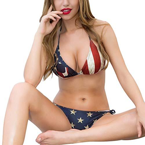 IMIKEYA 2 Piezas de Moda para Mujer Bikini Set Sexy Traje de baño de la Bandera Americana Cuello Dividido Bikini Traje de baño Kit Femenino Push Up Traje de baño (Tamaño...