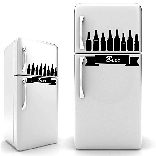 HNXDP Bier Kühlschrank Aufkleber schwarz Vinyl - A4 Größe/Wanddekoration/Küche Aufkleber/Kinder Aufkleber/lustige Aufkleber J948 50 x 31