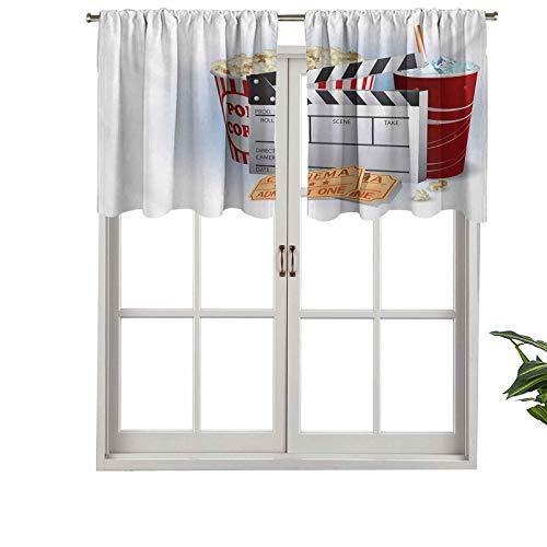 Hiiiman Cenefa de cortina opaca con bolsillo para barra, boletos de soda, tabla de palomitas de maíz frescas, Blockbuster Premiere, juego de 1, tratamiento de ventana de 137 x 45 cm para sala de estar
