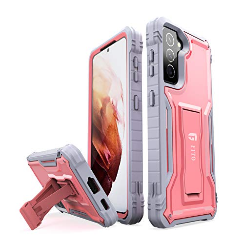 FITO for Samsung Galaxy S21 5G Case, Dual Layer Shockproof Heavy Duty Case for Samsung S21 5G Phone Built-in Kickstand, Without Screen Protector (Pink, 6.2 inch)