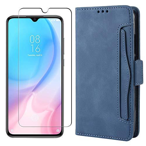 MARR Xiaomi Mi 9 Lite Lederhülle & Panzerglas Handyhülle PU Leder Tasche Schutzhülle für Xiaomi Mi 9 Lite (Blau)