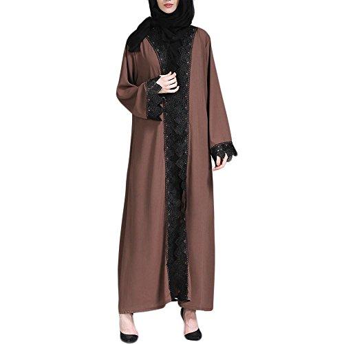 Damen Muslimischer Kleider FORH islamischer Kimono Muslim Dubai Kleid Kleidung Blumen Langer Mantel Mittlere Osten-Lange Robe Jacke Frühling-Sommer Kleider Hochzeitskleid Kleid (M, Kaffee)