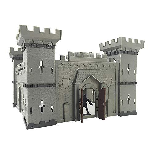 BAULMD Ritter und Schlösser Werden Modell Set, Militär Assembled Castle mit Zubehör gebaut, Kinder Ritterburg Königreich Burg Schloss, DIY Burgtor Spielzeug (30×30×19 cm)