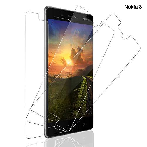 Panzerglas Schutzfolie für Nokia 8, Nokia 8 Panzerglasfolie mit 9H Festigkeit, [Anti-Kratzer/Bläschen/Fingerabdruck/Staub] Panzerglas Bildschirmschutzfolie für Nokia 8 [Lebenslanger Ersatz Garantie][3 stück]