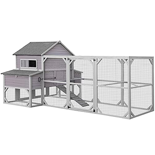146in Chicken Coop Extra Large Chicken House for 10-15 Chickens, Outdoor Wooden Hen House Poultry Cage w/Two Nesting Boxes, 7 Perches, Large Run