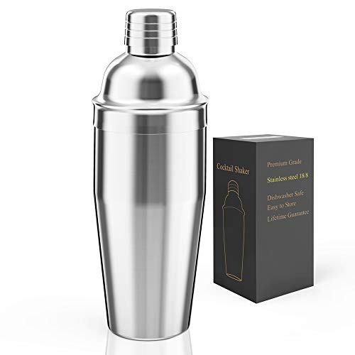 LUCKYGOOBO Cocktail Shaker,24 oz Martini Shaker,18/8 grade Stainless Steel Drink Shaker,Martini Mixer Built-in Strainer,Bartender Kit