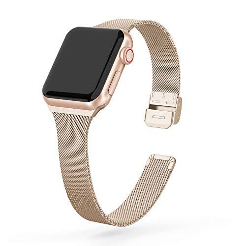 EDIMENS Metallband kompatibel mit Apple Watch 38mm 40mm, Edelstahl schmal klein weich Ersatz kompatibel für iWatch Serie 5 /4/3/2/1 Sport Edition Damen