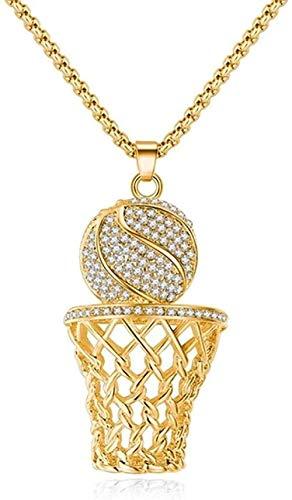 LBBYLFFF Collar Hip-Hop Basketball Frame Hombres Collar circón Color Oro Colgante Collar de Acero Hombres Baloncesto Deportes joyería Collar