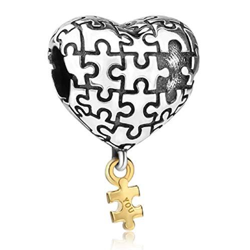 Abalorio de Plata de Ley 925 con Forma de corazón para Pulseras de dijes, día Festivo, Familiares, Hijas, Esposas, Aniversarios, Autismo, concienciación, cumpleaños, de EVESCITY