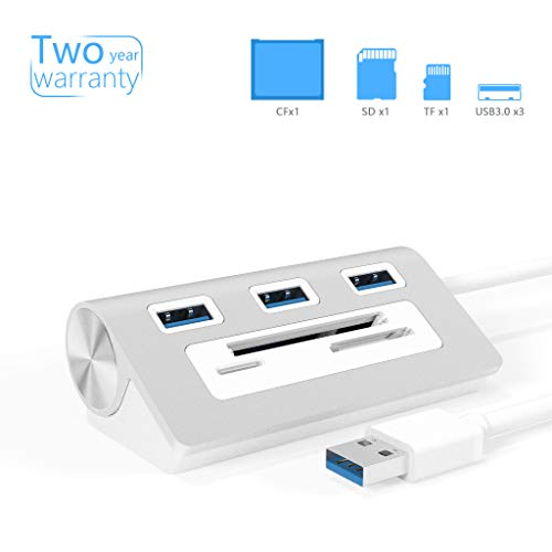Bawanfa Aluminium Bus-versorger 6-in-1 USB 3.0 Hub, 3-Port Hub mit 3-Steckplätzen kartenleser Combo Datenhub für MacBook, MacBook Air/Pro/Mini, iMac, Windows Laptops, sowie PCs