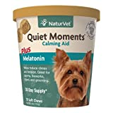 NaturVet Quiet Moments Calming Aid Dog Supplement – Helps Promote Relaxation, Reduce Stress, Storm Anxiety, Motion Sickness for Dogs – Tasty Pet Soft Chews with Melatonin – 70 Ct.