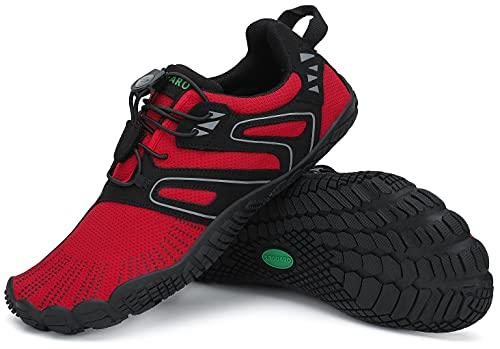 SAGUARO Barfußschuhe Damen Wassersportschuhe Herren Traillaufschuhe Laufschuhe Atmungsaktiv Straßenlaufschue Wasserschuhe Strandschuhe Frauen Schnell Trocknend Zehenschuhe Rotwein 02 40 EU