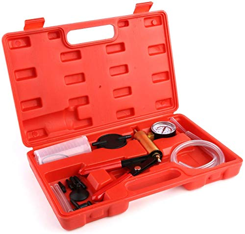 femor Vakuumpumpe Bremsenentlüfter Bremsenentlüftungsgerät Vakuum Vakuumtester Set Anzeige bis 760 mm Hg mit Koffer