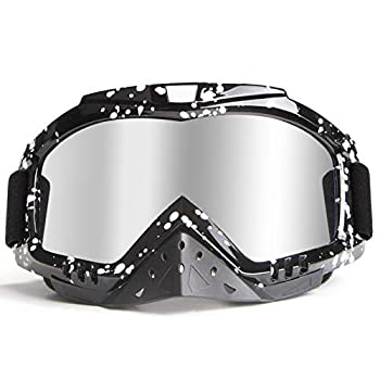 Motorcycle Goggles Dirt Bike Goggles ATV Goggles QM-STVR Goggles UV Motocross Goggles Anti Fog Goggles Riding Offroad Goggles with Nose Cover Dirtbike Fox Goggles over Glasses Skiing Goggle