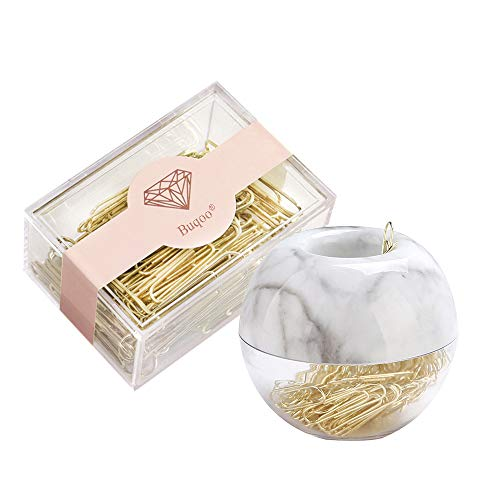Marble Paper Clips Holder Magnetic Paper Clips Holder with 100 Pcs 28mm Gold Paper Clips N 70 Pcs 50mm Gold Paper Clips Set with Square Clear Clips Dispenser Stationery Set for Home Office N School