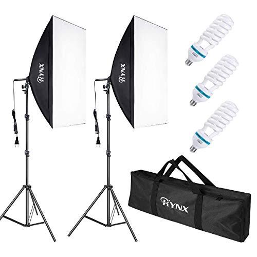 Aokeou Softbox Set Fotostudio, Professionelle Studiofotografie-Endlosausrüstung mit135 W 5500K E27-Sockellichtern und 2 Reflektoren 20 x 28 Zoll für Studio-Porträts, Produktfotografie, Modefotos, usw.